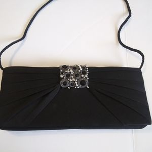 Jessica McClintock Black Jeweled Pleated Clutch